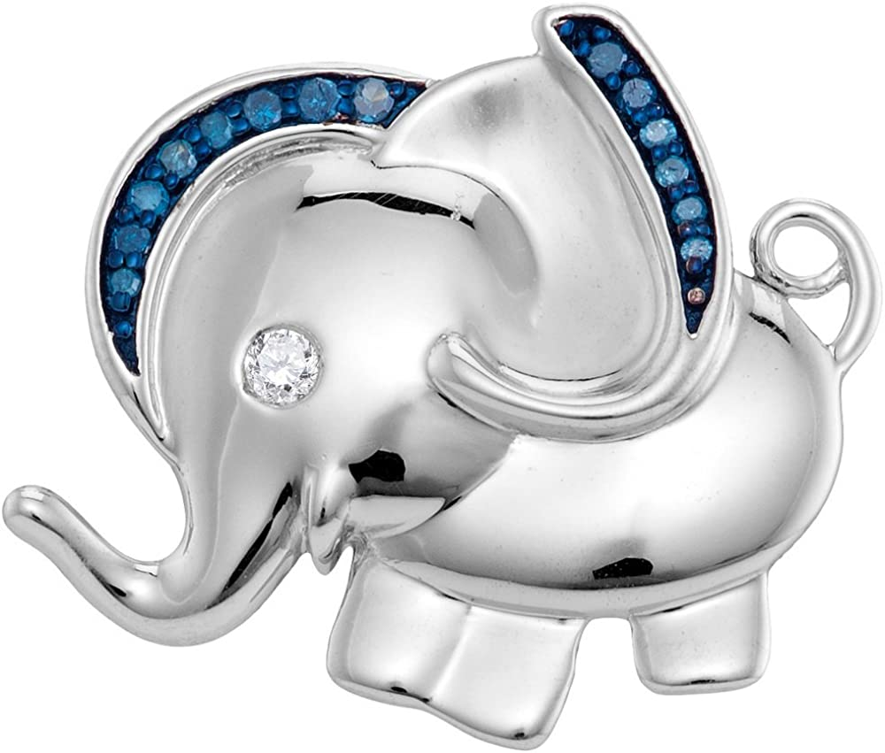 Mediterranean Blue Diamonds Silver Elephant Necklace Pendant 1//10 Ctw.