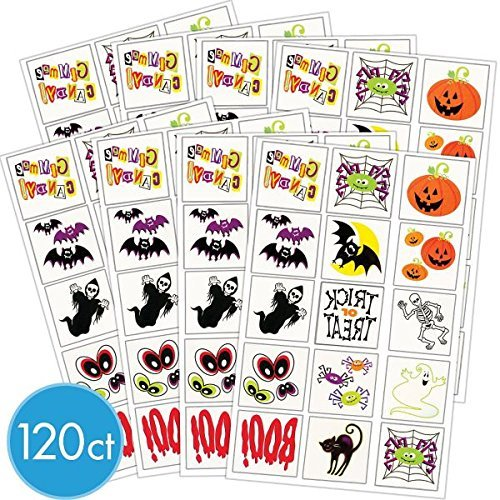 Amscan Halloween Icons Tattoos Party Supplies | Pack of 2 (240 Assorted Pieces) | Great as Trick-or-Treat Giveaways and Horror House Decoration