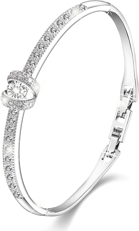 Menton Ezil 18K White Gold Princess Bangle Bracelets with Swarovski Crystal  Women Fashion Jewelry