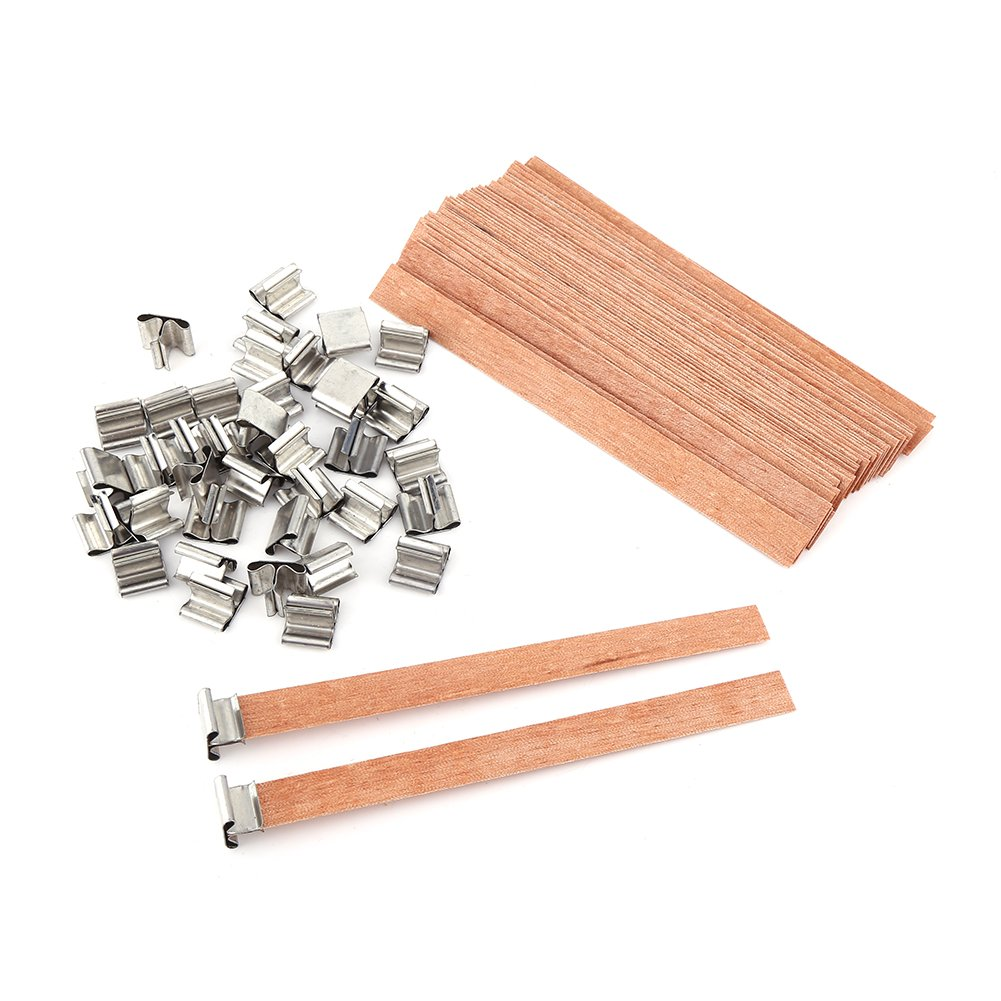 40 pcs/Lot Wooden Candle Wick Wax for Handmade DIY Craft Making (8×90mm) Walfront