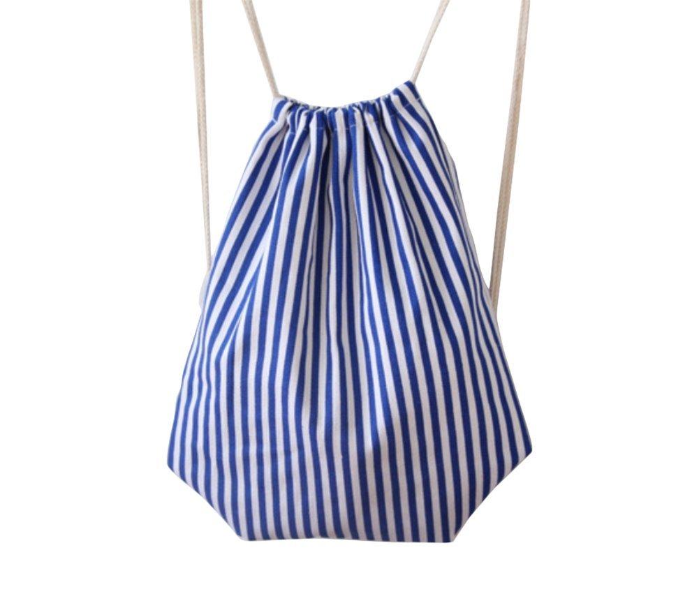 Bolsa de tela con cuerda ajustable para viaje o deporte, plegable, tela, diseño sencillo a rayas, de gran capacidad, para mujeres, color azul y blanco LAAT