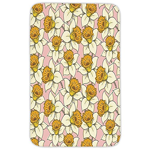 Rectangular Area Rug Mat Rug,Yellow Flower,Playful Spring with Narcissus Daffodils Flourish Graphic Garden Decorative,Yellow Cream Pale Pink,Home Decor Mat with Non Slip Backing by iPrint