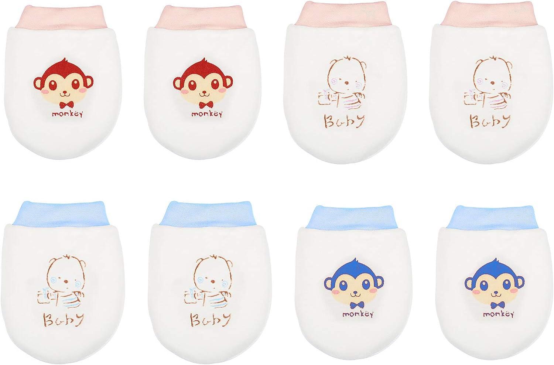 LANMOK Bebé Recien Nacido,4 pares Algodón Bebés con Cordón Antiarañazos Bebé Regalos para Cumpleaños Recién Nacidos Baby Showers Bautizos Año Nuevo