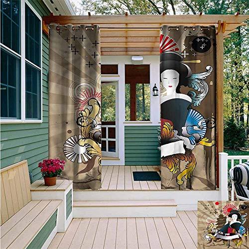 Beihai1Sun Outdoor Grommet Window Curtain,Modern Japanese Art Geisha Woman,Waterproof Patio Door Panel,W108x72L]()