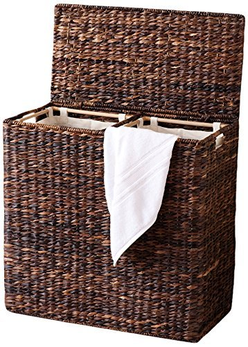 - BirdRock Home Oversized Divided Hamper with Liners (Espresso) | Made of Natural Woven Abaca Fiber | Organize Laundry | Cut-Out Handles for Easy Transport | Includes 2 Machine Washable Canvas Liners