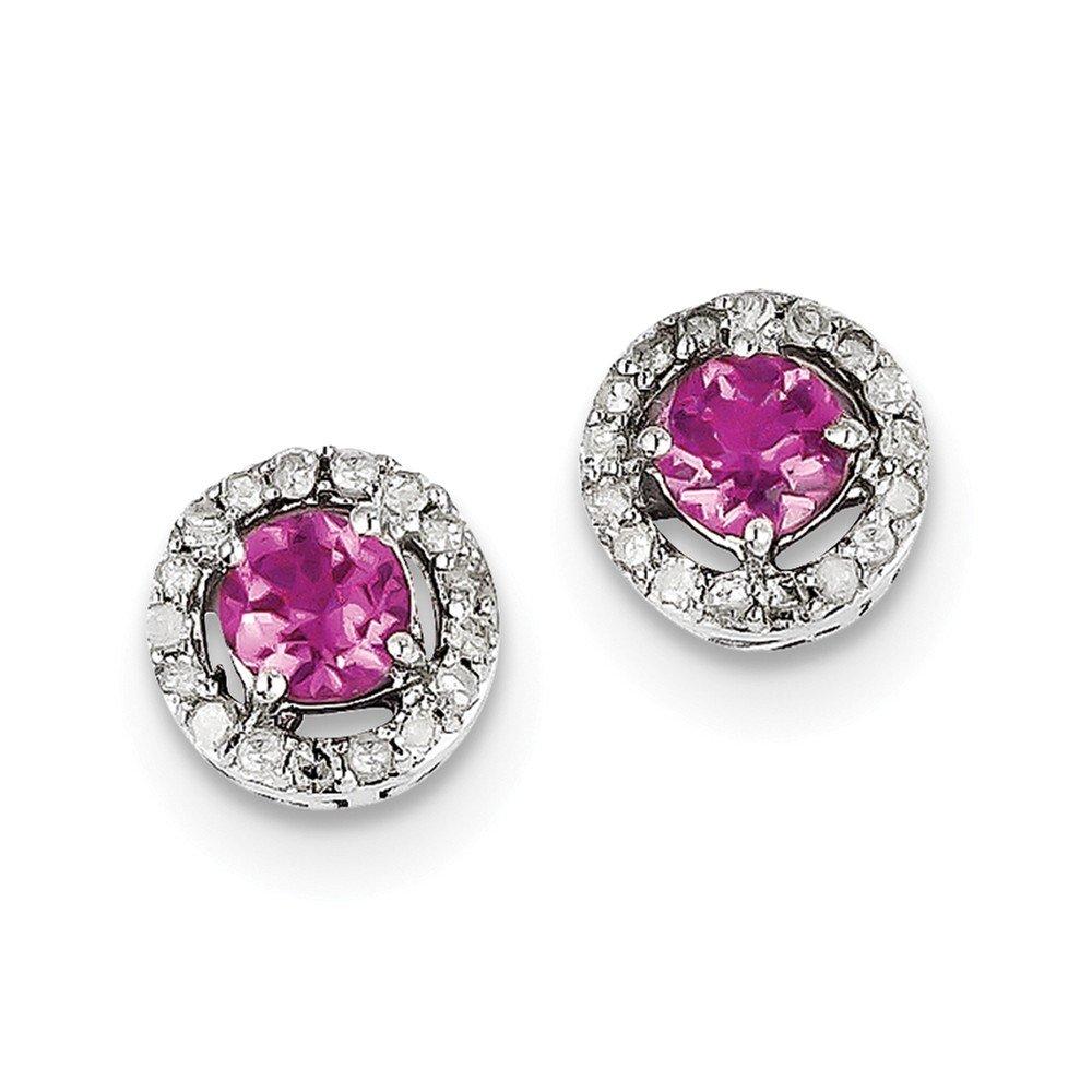 Sterling Silver Diamond & Pink Tourmaline Circle Post Earrings