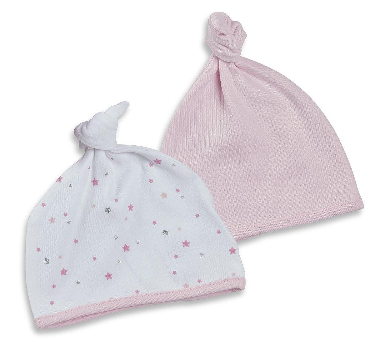 BABY TOWN Babytown Multi Pack Baby Girls Boys Top Knot Hats Printed Stars Newborn Unisex New