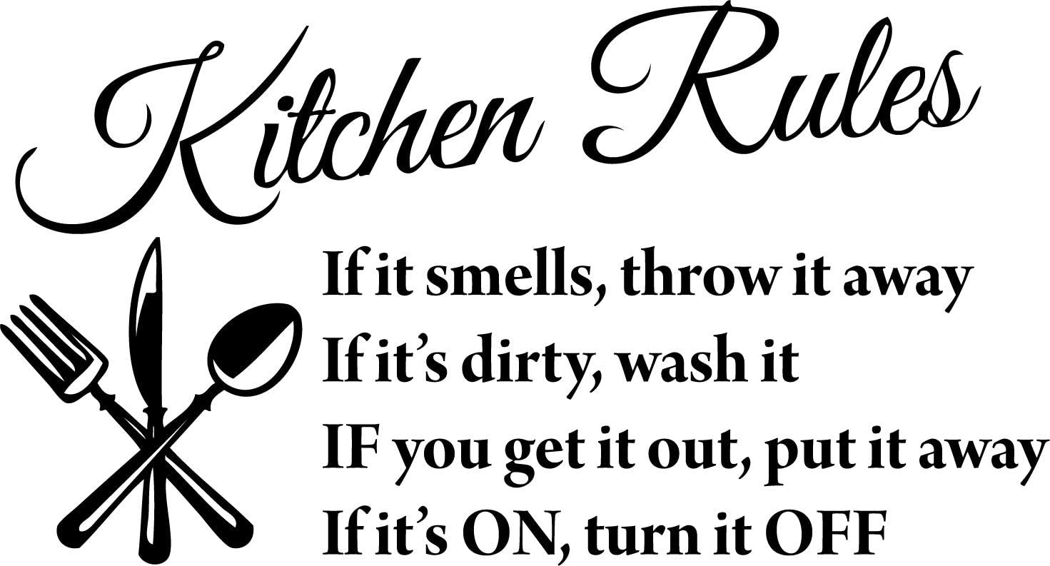 "Blinggo Black 22"" X 13"" Kitchen Rules Art Home Mural Décor Vinyl Wall Art Inspirational Quotes and Saying Home Decor Decal Sticker Steams"
