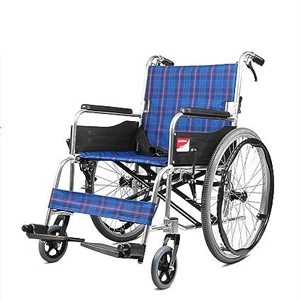 HSRG Silla de Ruedas Ligera Plegable con Brazos y reposapiés elevables, Personas discapacitadas Mayores caminadoras