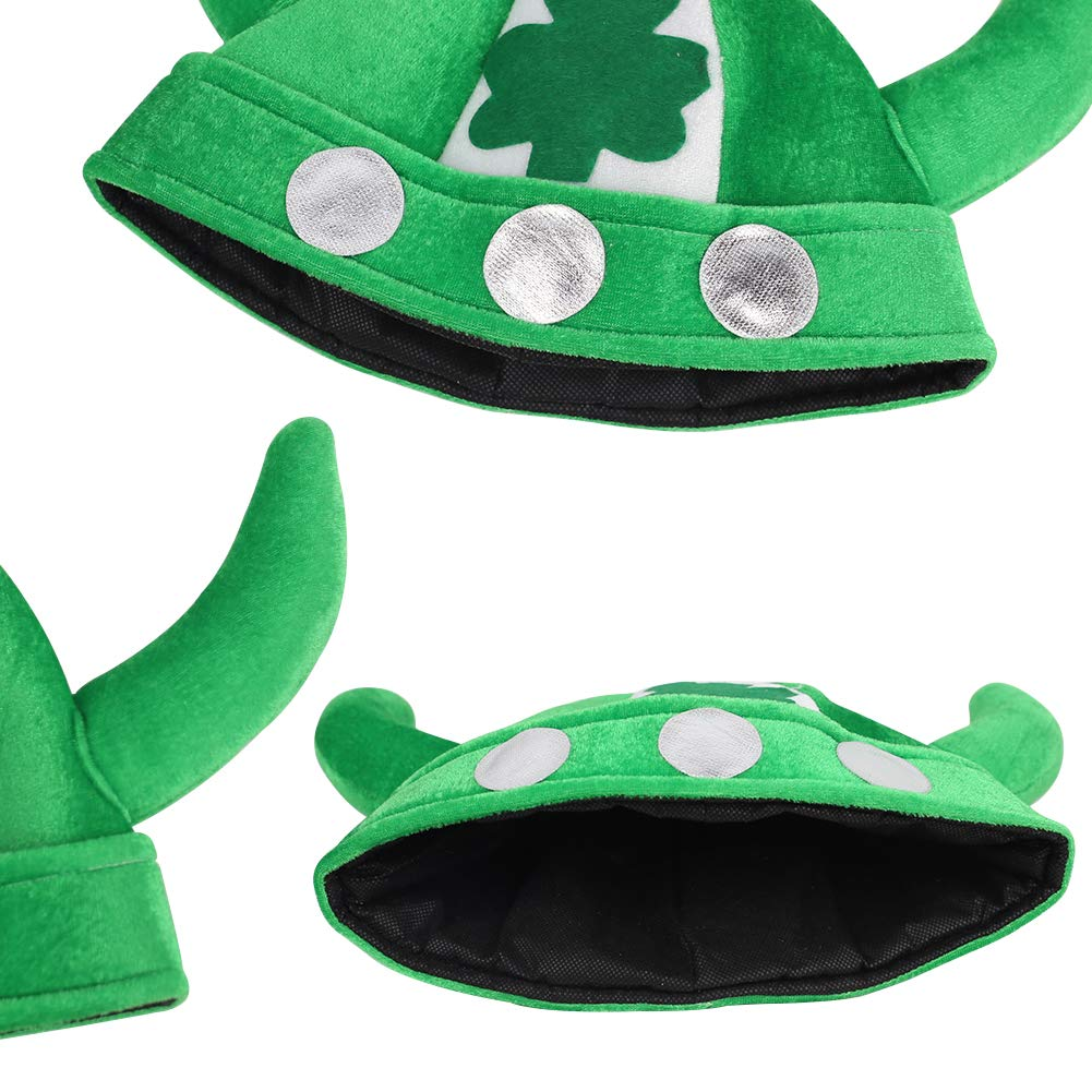 Shindel St. Patrick\'s Day Green Ox Horn Hat with Shamrock, Adult Costume Cap