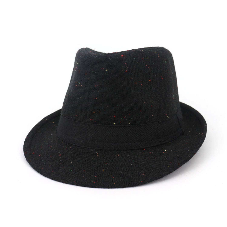 Colour Dot Fall Black for Men Women Elegant Felt Wide Brim Trilby Hat Gangster Hats Vintage Church Cap