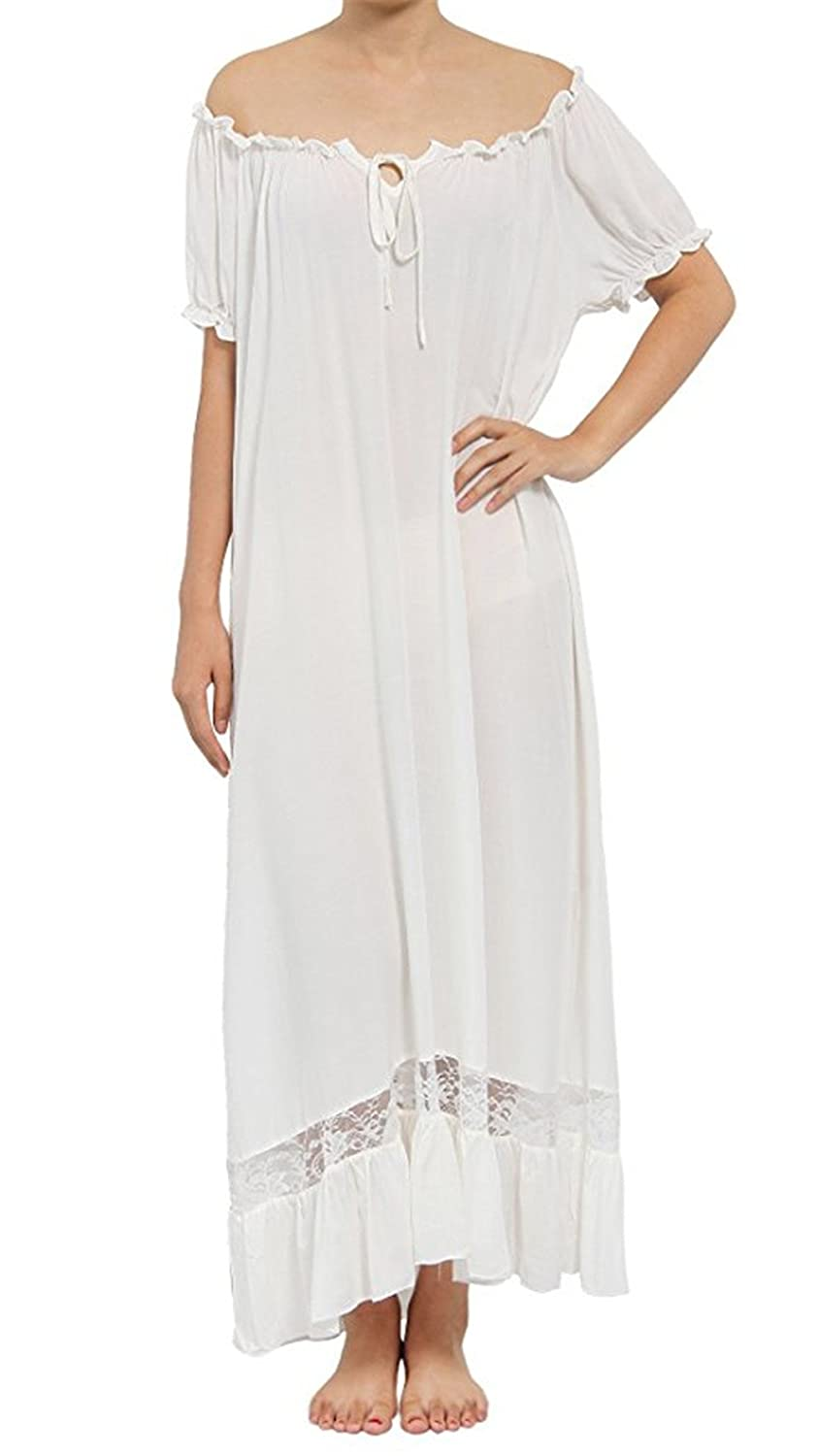 Europax Women's Cotton Off The Shoulder Short Sleeve Nightgown Victorian Nightdress