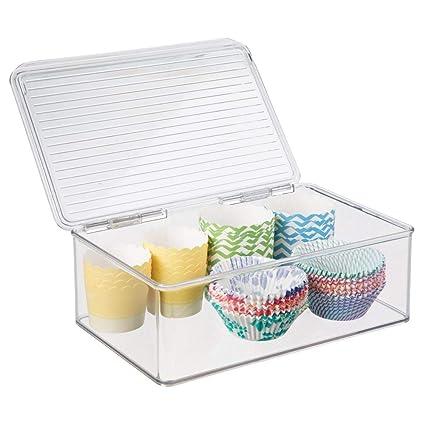 mDesign Fiambrera con tapa para nevera - Recipiente hermético de 3 litros para refrigerador - Envases de plastico para alimentos ideal para comida de ...