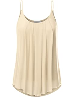 67cdc4c62be WUAI Womens Basic Solid Camisole Tops Plus Size Chiffon Sleeveless ...