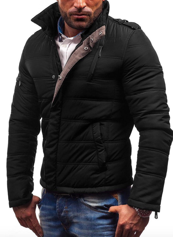 WSLCN Mens Winter Quilted Padded Waterproof Warmer Jacket Coat