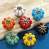 Sytian® 7pcs Multicolor Candy Color Baby Kid's Children's Furniture Drawer Handles Decorative Pumpkin Ceramic Door Cabinet Drawer Knobs Pull Handles Creative Cupboard Handle Pull Knobs with Screw