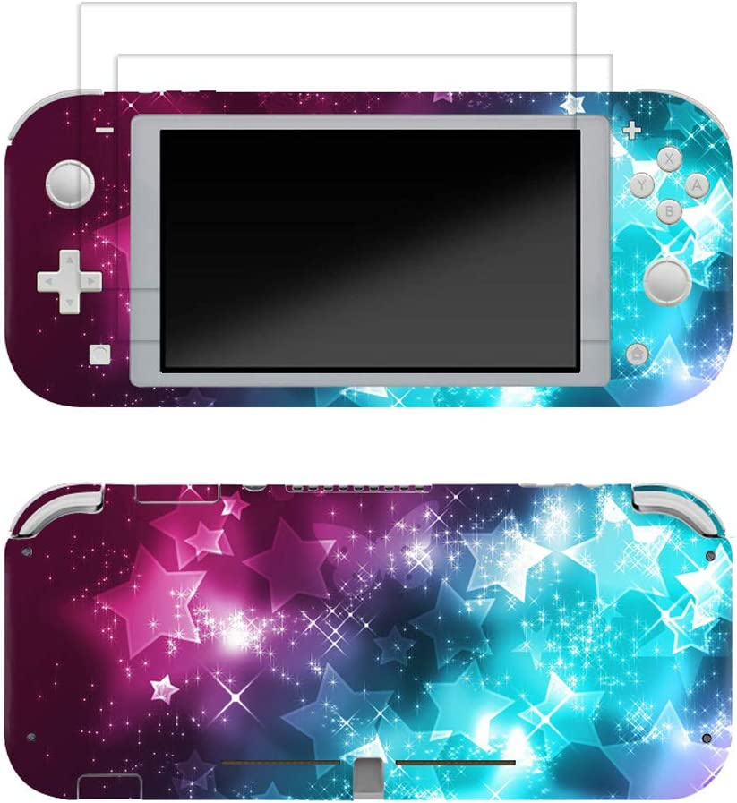 Skin for Switch Lite 3M Vinyl Full Cover Sticker Decal,2 PCS Tempered Glass Screen Protector for Switch Lite(Star)