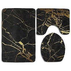 Black Gold Marble Bath Mat Bathroom Carp...