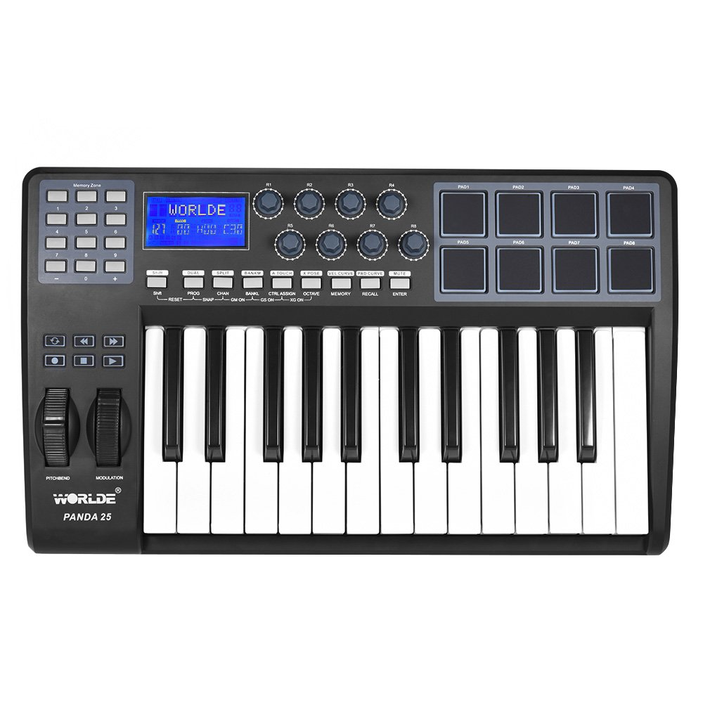 ammoon PANDA25 25-Key Ultra-portable USB MIDI Keyboard 8 Drum Pads Controller with USB Cable by ammoon