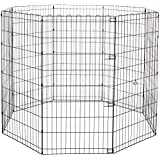 AmazonBasics Foldable Metal Pet Dog Exercise Fence Pen - 60 x 60 x 48 Inches
