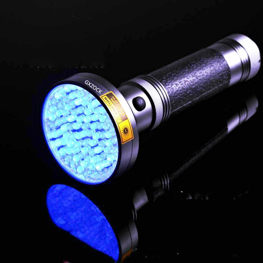 Linterna UV de 100 LED, con gafas de sol UV de 395 nm LED ultravioleta, orina de gato y detector de manchas, luz negra, escorpiones, moho y fugas detector para uso comercial o doméstico, funciona con pilas. GXZOCK