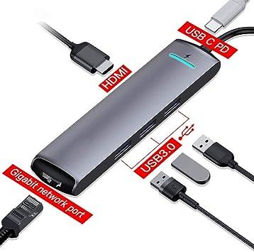 Atten Hub USB, 6-en-1 Smart Hub, Tipo C Muelle de HDMI Ampliar el Adaptador USB Recargable móvil, HD 4K de Salida, for PC UDisk del Teclado del ratón Gamepad: Amazon.es: Electrónica