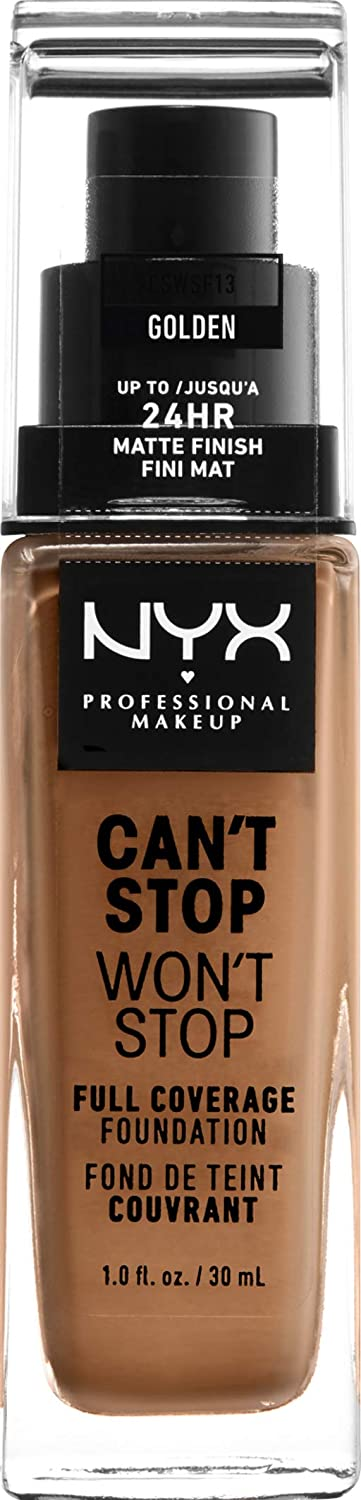 NYX PROFESSIONAL MAKEUP Can't Stop Won't Stop Full Coverage Foundation Makeup, Golden, 1 Ounce