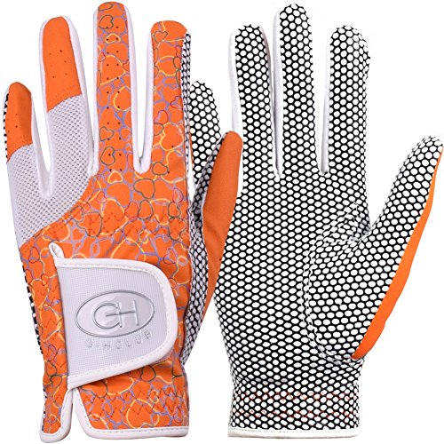 GH Womens Leather Golf Gloves One Pair - Heart Patterned Both Hands (Orange, 19 (S))