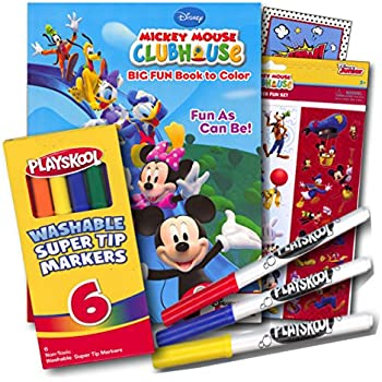Mickey Mouse Coloring Book with Stickers and Markers ~ 96 Page Coloring Book, Mickey Mouse Stickers Assortment, Washable Markers & Bonus Sticker