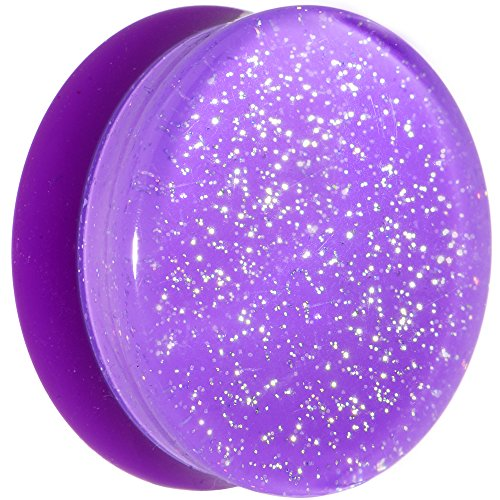 (Body Candy Purple Neon Acrylic Glitter Saddle Ear Gauge Plug (1 Piece))