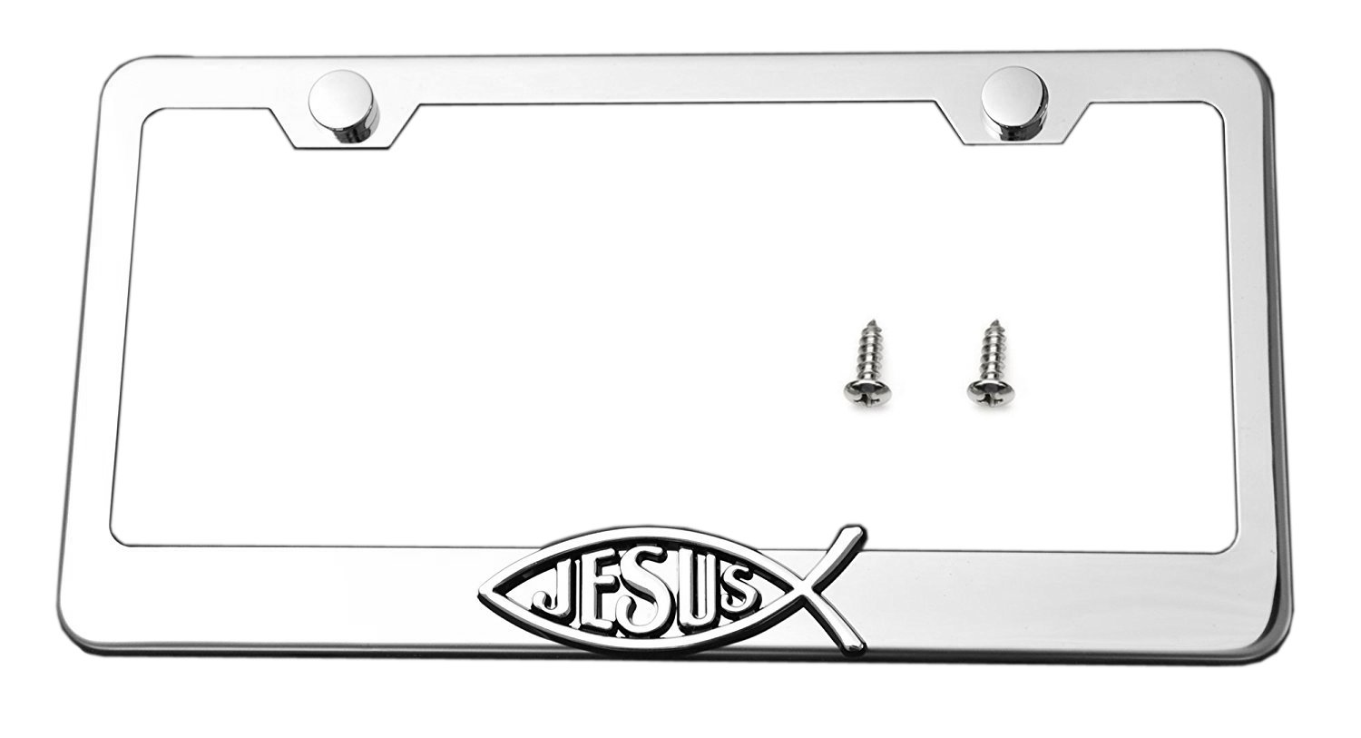 License plate frame Jesus Fish Spiritual Love 3D Emblem Stainless Steel Chrome, New