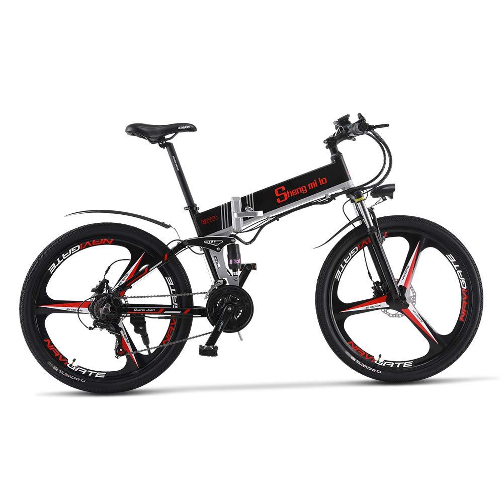 【新品割引】M80 500W/350W 電動アシストマウンテンバイク シマノ21速 折り畳み 油圧ディスクブレーキ フルサスペンション 防犯登録可能 荷台付き (ブラック)
