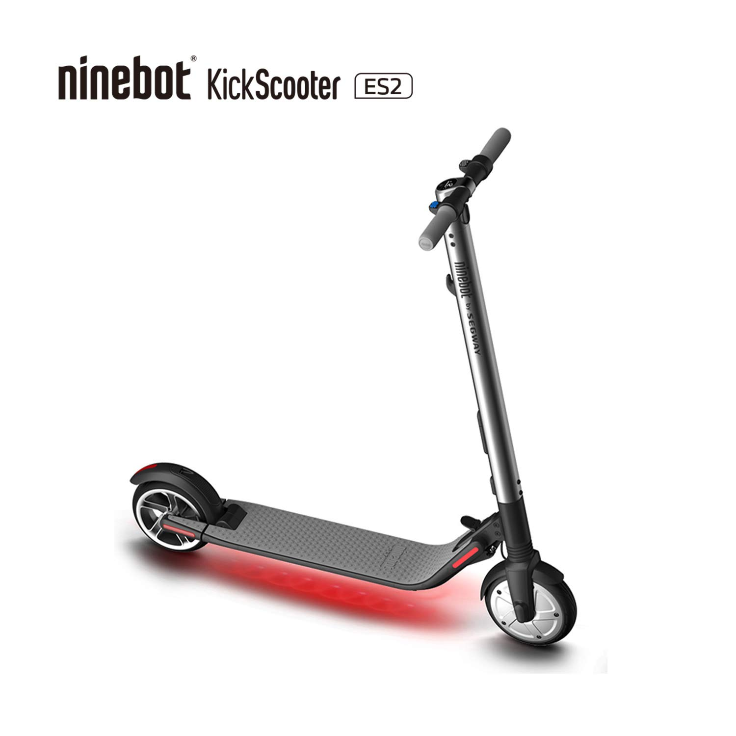 Segway Ninebot ES2 Folding Electric Kick Scooter, Silver by Segway