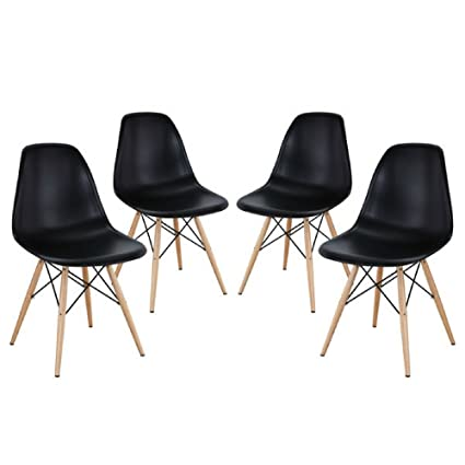 Mid Century Modern Eames Style Chairs 4 Pack (Black)  sc 1 st  Amazon.com : modern style chairs - Cheerinfomania.Com