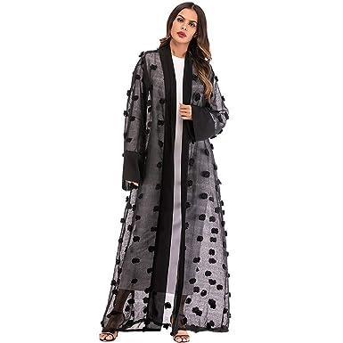 1c1e353124e Women s Muslim Gown Dress Islamic Floral Long Sleeve Maxi Open Abaya  Cardigan Maxi Dress Bandage Kaftan