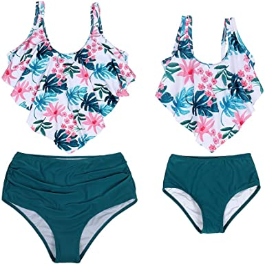 MetCuento Family Matching Swimsuit High Waisted Ruffle Swimwear Two Pieces Bikini Set Mommy and Me Bathing Suits