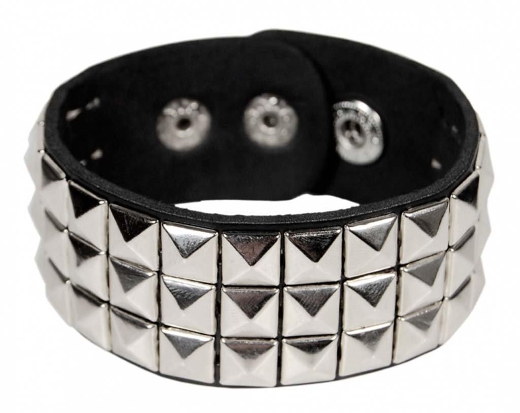 Punk Wristband 3-Row Pyramid Studded