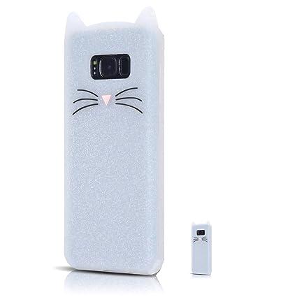HopMore Funda Samsung Galaxy S8 Silicona Motivo 3D Divertidas Gato TPU Gel One Piece Kawaii Carcasa Samsung S8 Ultrafina Slim Case Antigolpes Caso ...