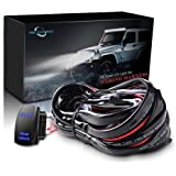 MicTuning 101044 Wiring Harness (for LED Light Bar, 40Amp Relay Fuse Laser Blue On-Off Rocker Switch (Rear Lights, 12ft))