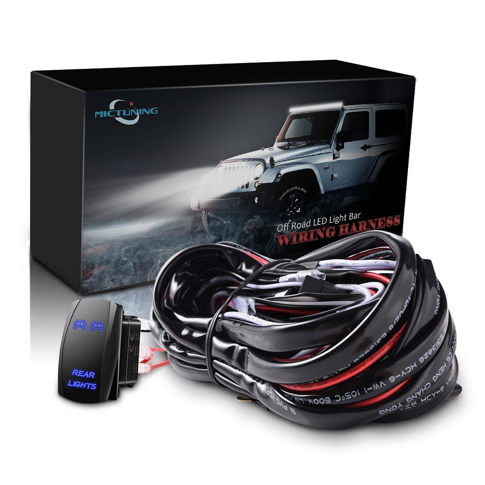 Amazon.com: MICTUNING LED Light Bar Wiring Harness - 40Amp Relay Fuse BLUE  ON-OFF Rocker Switch (REAR LIGHTS): Automotive