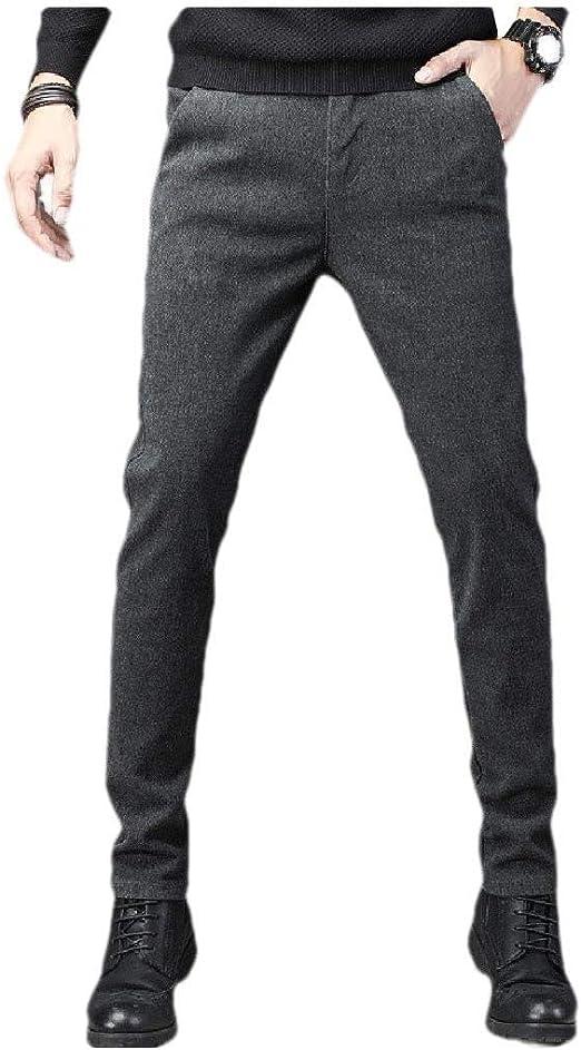EnergyWD メンズポケットスキニーソリッドカラーフラットフロントシワ耐性ズボン
