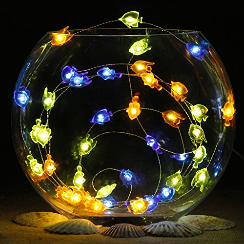 Impress Life Nautical Themed Christmas Decorations, Tropical Small Fish Led Blue Green Orange Battery-Powered String Lights 10ft 40 Led Silver Wire with Remote for Patio, Porch, Bedroom ()