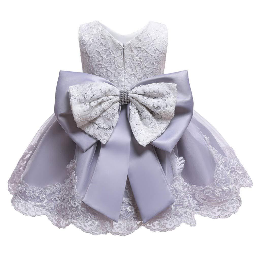 Kid Baby Girl Dresses Bowknot Princess Wedding Formal Dress+Headband Gown Sets