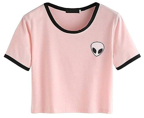 LANNORN Mujeres 7 Colores Verano Divertido Print Aliens Camisetas y Tops, 2018 Culo Top Manga Corta ...