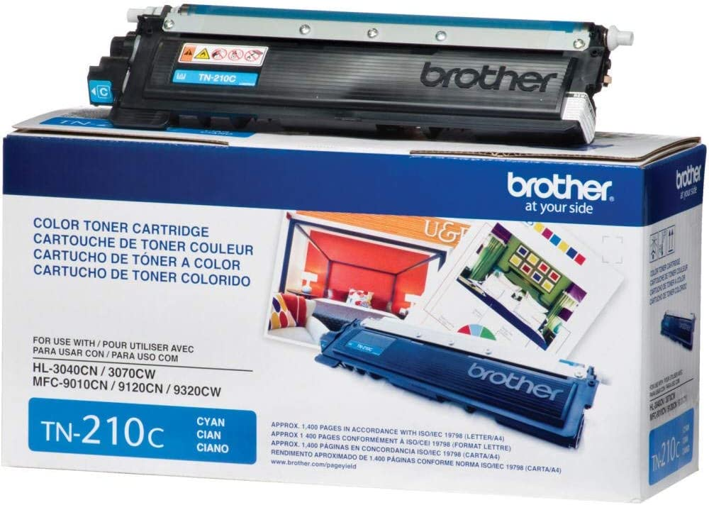 Brother TN-210C DCP-9010 HL-3040 3045 3070 3075 8070 8370 MFC-9010 9120 9125 9320 9325 Toner Cartridge (Cyan) in Retail Packaging