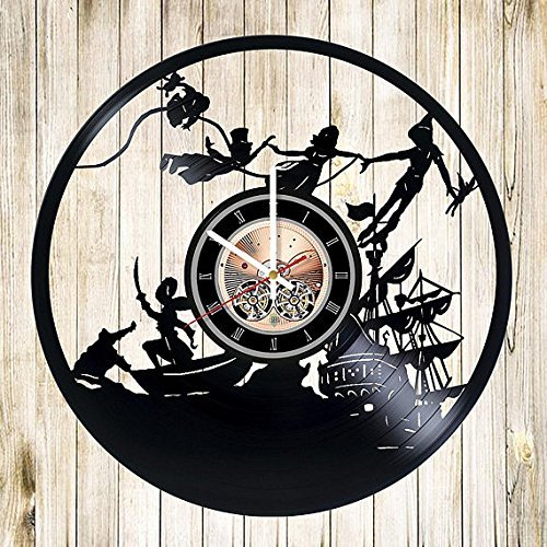 Peter Pan Vinyl Record Wall Clock - Get Unique Gifts Presents for Birthday, Christmas, Ideas for Boys, Girls, Men, Women, Adults, him and her