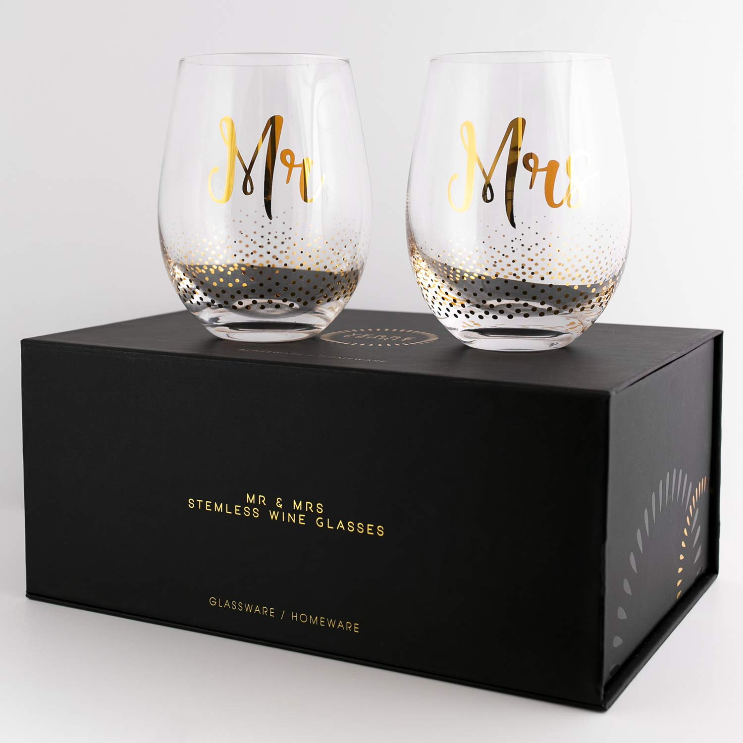 Mr & Mrs Gifts, set of 2 Crystal stemless wine glasses, with beautiful gift box, Perfect Engagement Gift, Wedding gift, Anniversary or Couples gift. by Verre Esprit (Image #7)