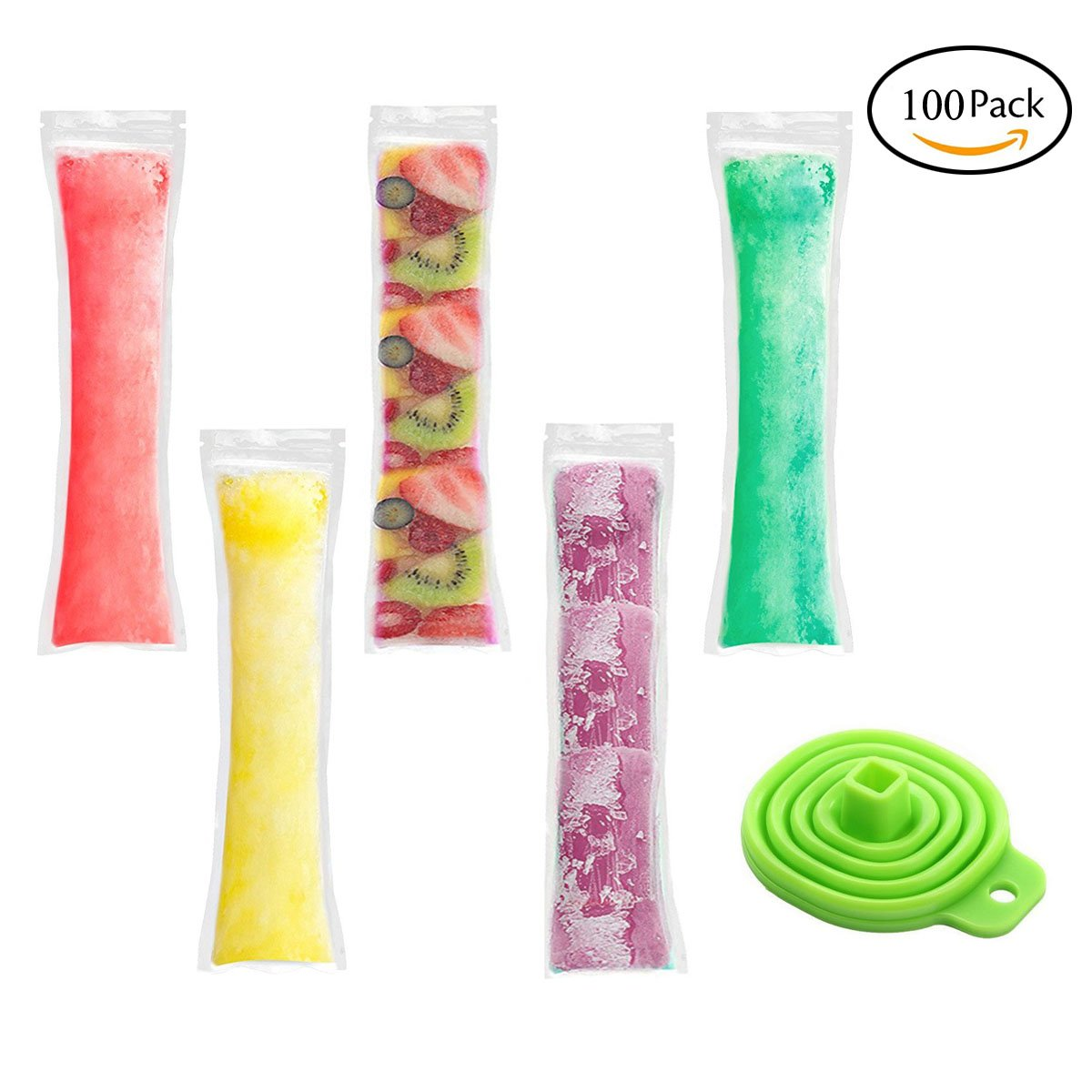 """SBOZ 100 Pack Popsicle Mold Bags With Zip Seals, 2.36""""x8.66"""" FDA Approved BPA Free Disposable Ice Pop Pouches for Healthy Yogurt Sticks/Juice/Fruit Smoothies/Ice Candy, Comes with A Telescopic Funnel"""