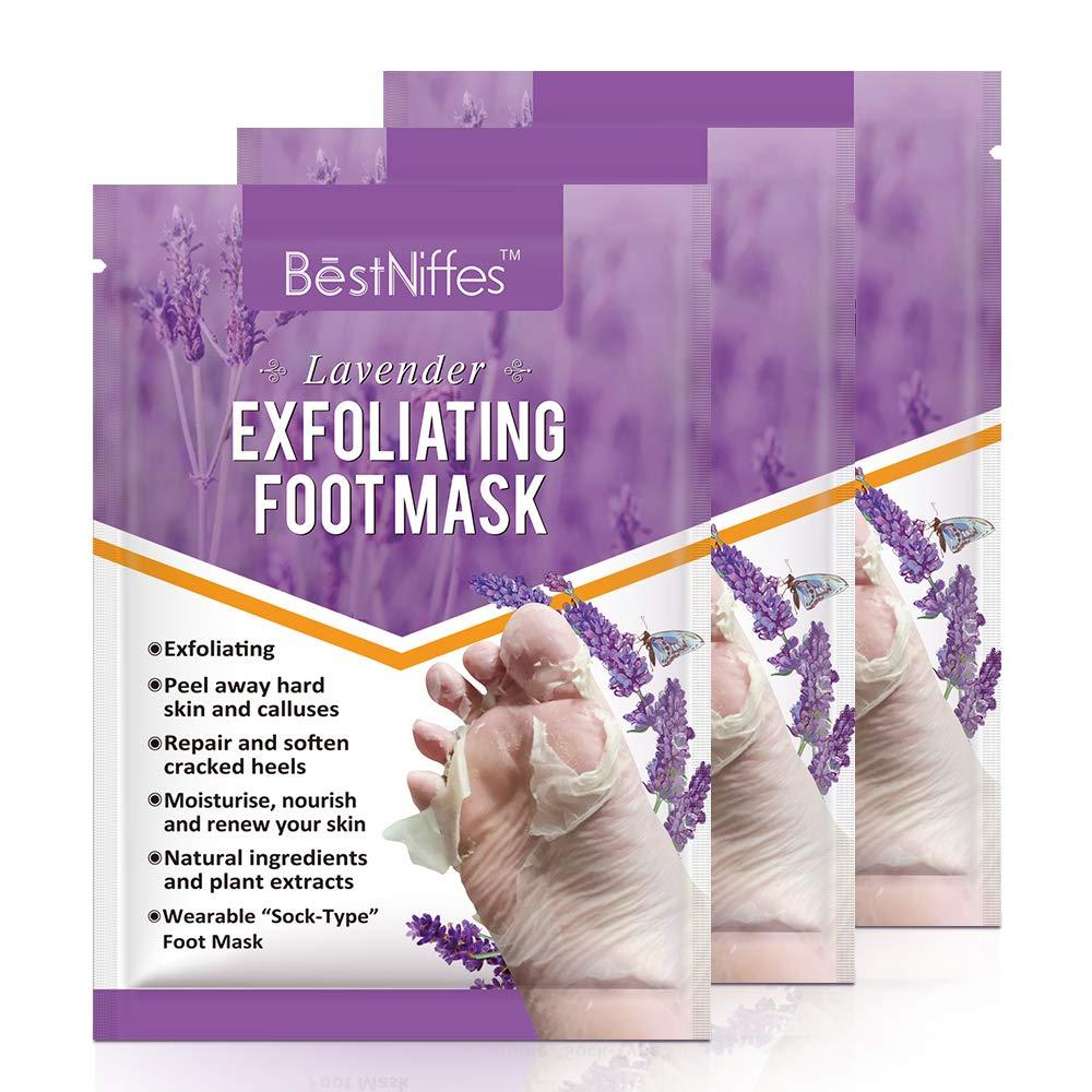 Foot Peel Mask, Exfoliating Foot Masks, Natural Exfoliator for Dry Dead Skin, Callus, Repair Rough Heels for Men Women(Lavender) (3PCS)