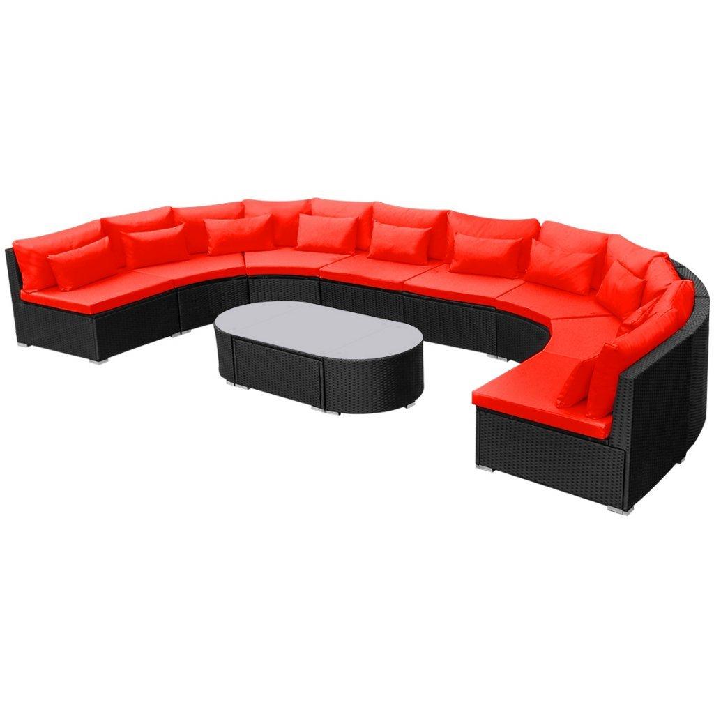 Daonanba Luxurious XXL Rattan Furniture Set Soft Garden Sofa Set Durable Poly Rattan Red